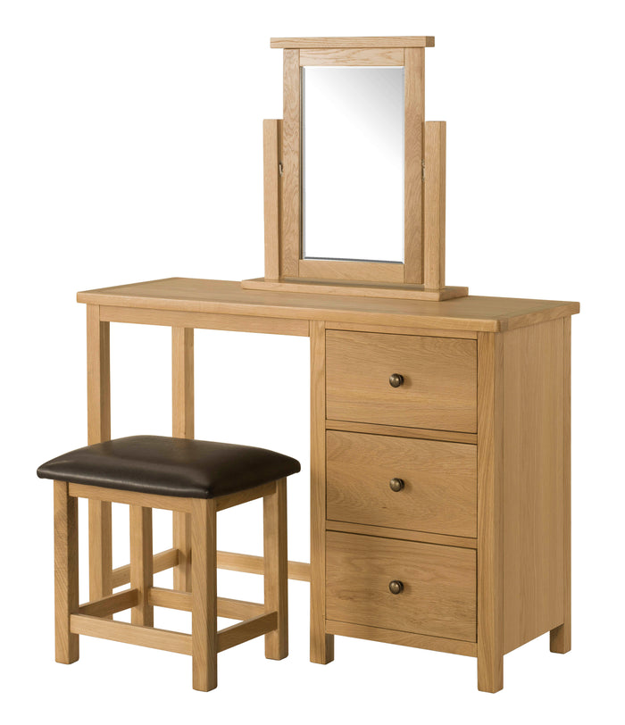 Burford Oak Dressing Table, Mirror, and Stool