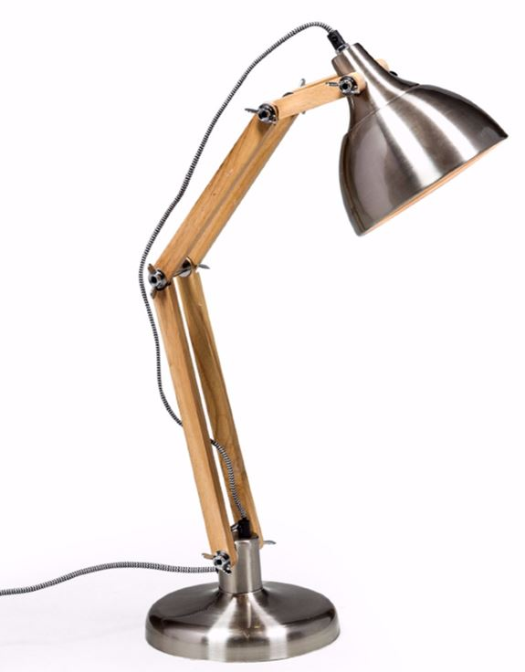 Loft Collection Brushed Steel Traditional Desk Lamp