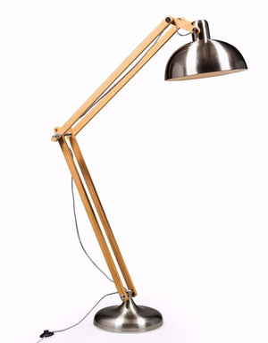 Loft Collection Extra Large Brushed Steel Traditional Floor Lamp