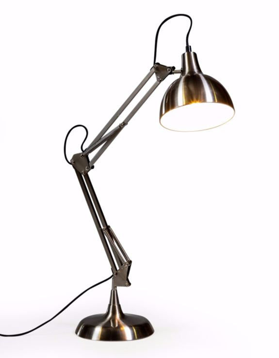 Loft Collection Large Brushed Steel Traditional Desk Lamp