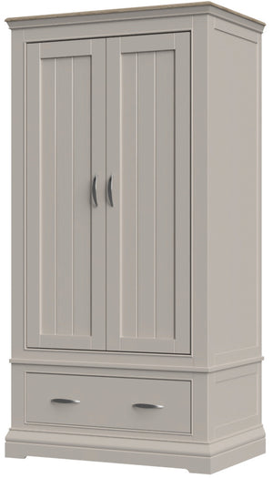 Cobble Painted Double Wardrobe with Drawer