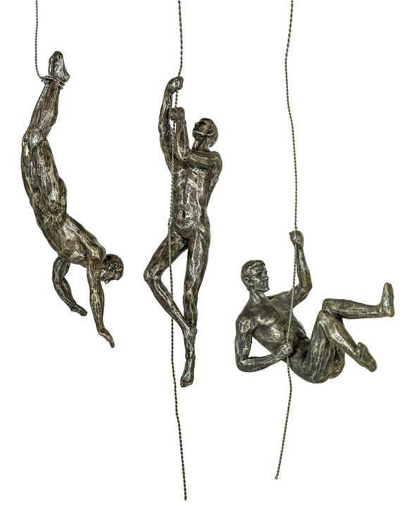 Loft Collection Set of 3 Antique Silver Abseiling Men Wall Figures