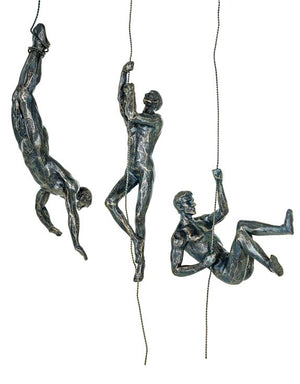 Loft Collection Set of 3 Antique Bronze Abseiling Men Wall Figures