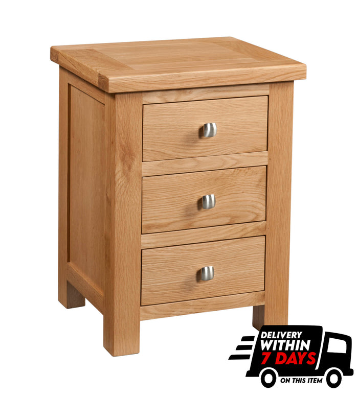 Bicester Oak 3 Drawer Bedside
