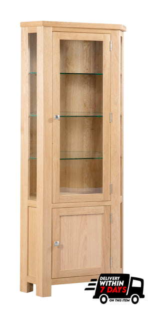 Bicester Oak Glazed Corner Unit