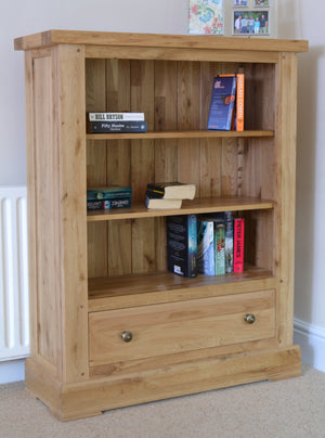 Wessex Low Wide Bookcase with Drawer