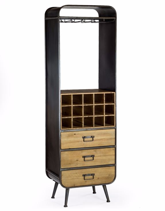 Loft Collection Camden Metal and Wooden Bar Cabinet