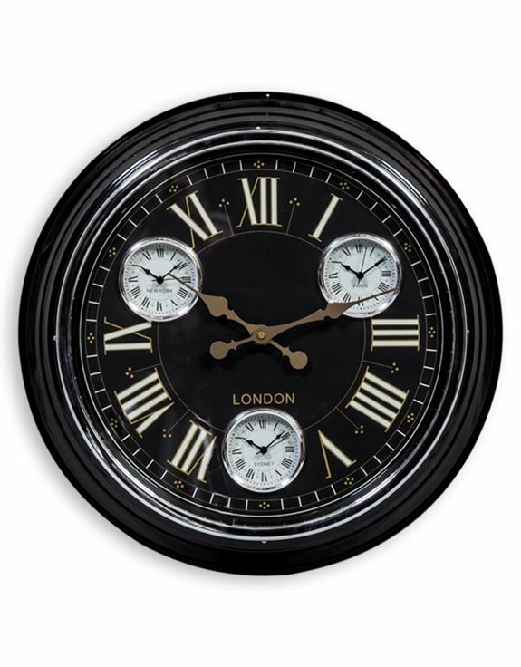"Loft Collection Black with Black & Gold Face ""London"" Multi Dial wall Clock"