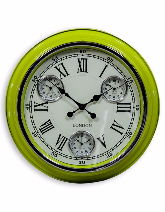 "Loft Collection Lime Green White Face ""London"" Wall Clock"