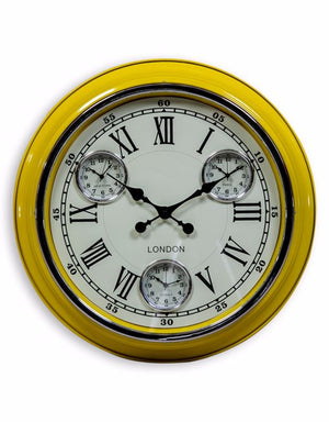 "Loft Collection Yellow White Face ""London"" Wall Clock"