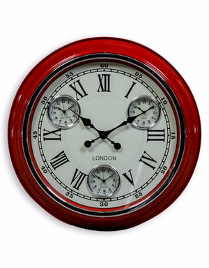 "Loft Collection Red White Face ""London"" Wall Clock"