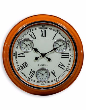 "Loft Collection Orange White Face""London"" Wall Clock"