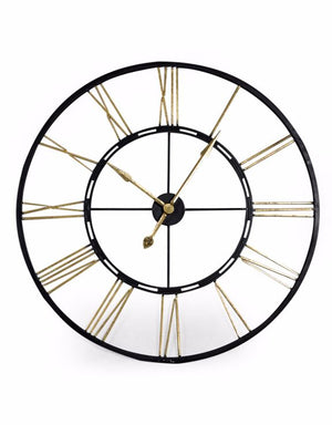 Loft Collection Large Black and Gold Iron Skeleton Clock