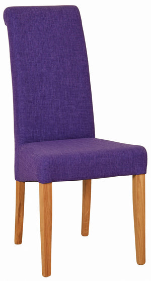 Bicester Oak Purple Fabric Dining Chair | A Touch of Furniture Oxfordshire