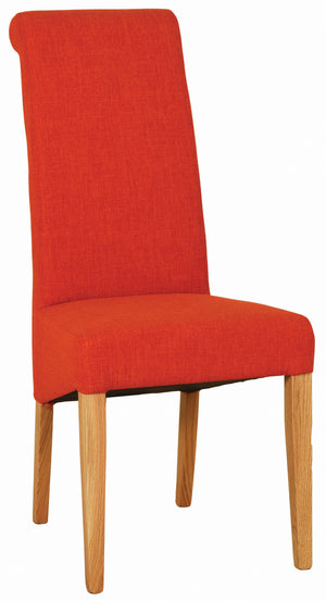 Bicester Oak Dark Orange Fabric Dining Chair | A Touch of Furniture Oxfordshire
