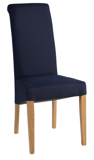 Bicester Oak Dark Blue Fabric Dining Chair
