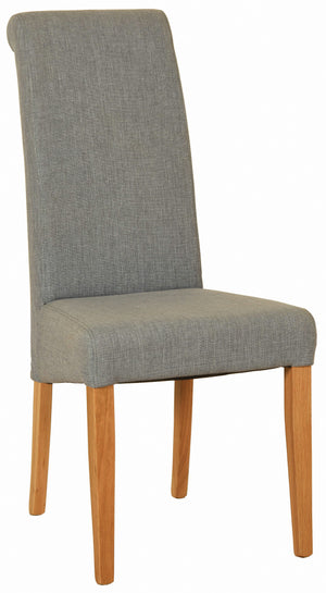 Bicester Oak Light Grey Fabric Dining Chair