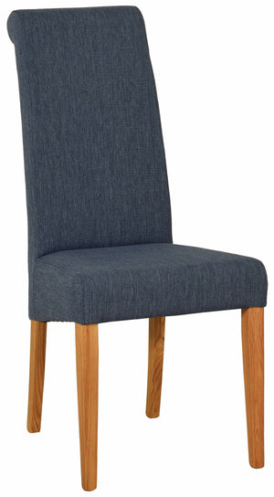Bicester Oak Blue Fabric Dining Chair