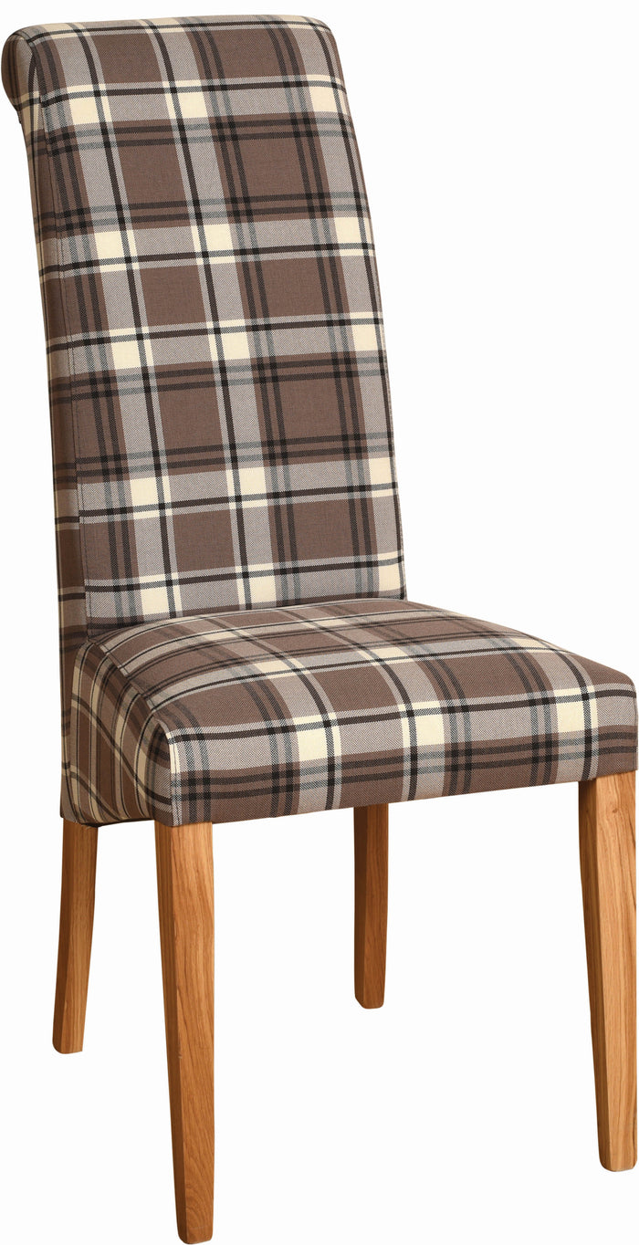 Bicester Oak Brown Tartan Fabric Dining Chair