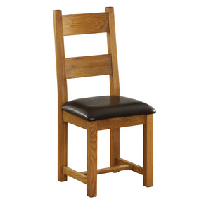 Vancouver Petite Oak Dining Chair with Chocolate Leather Seat