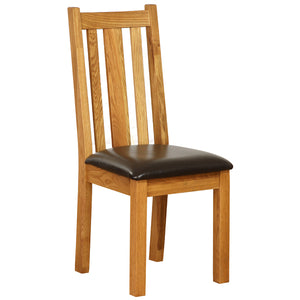 Vancouver Petite Oak Slat Dining Chair with Chocolate Leather Seat