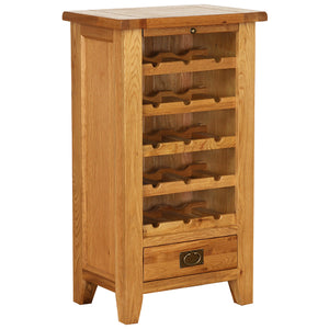 Vancouver Petite Oak Wine Rack with 5 Shelves and 1 Drawer