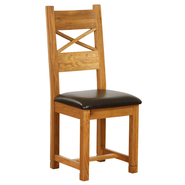 Vancouver Petite Oak Cross Back Dining Chair with Chocolate Leather Seat