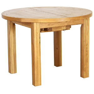 Vancouver Petite Oak Round Extending Dining Table 1.1m - 1.4m