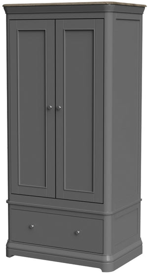 Pebble Painted Double Wardrobe with Drawer