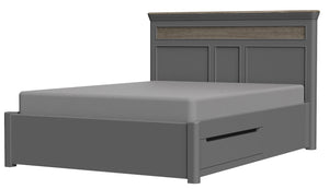 "Pebble Painted 4'6"" Double Bed with Storage 