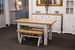 Painted Extending Dining Table with 2 Benches