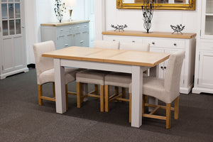 Painted Extending Dining Table with 4 Beige Fabric Chairs