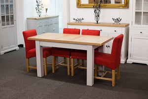 Painted Extending Dining Table with 4 Red Fabric Dining Chairs