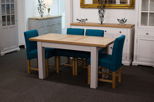 Painted Extending Dining Table with 4 Teal Fabric Dining Chairs