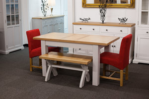 Painted Extending Dining Table with Bench and 2 Red Fabric Dining Chairs
