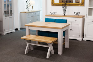 Painted Extending Dining Table with Bench and 2 Teal Dining Chairs