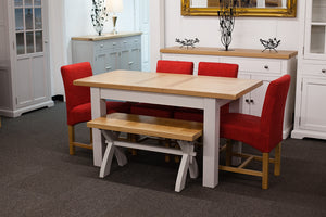 Painted Extending Dining Table with Bench and 4 Red Dining Chairs
