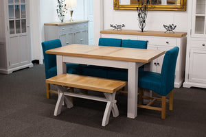 Painted Extending Dining Table with Bench and 4 Teal Dining Chairs