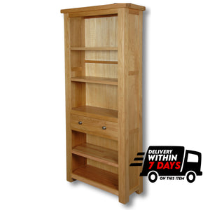 Woodstock Oak 6ft Bookcase with Drawer