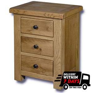 Manhattan Oak 3 Drawer Bedside