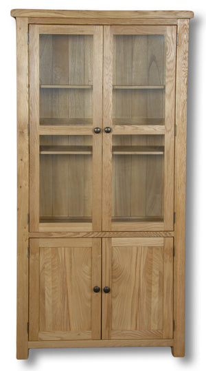 Manhattan Oak 900mm Glazed Display Cabinet