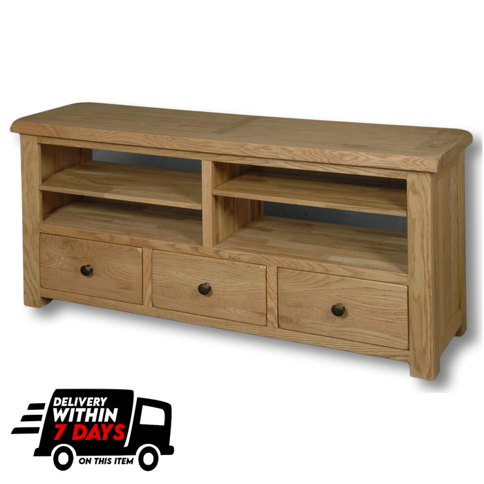 Manhattan Oak 4 Shelf 3 Drawers TV Unit