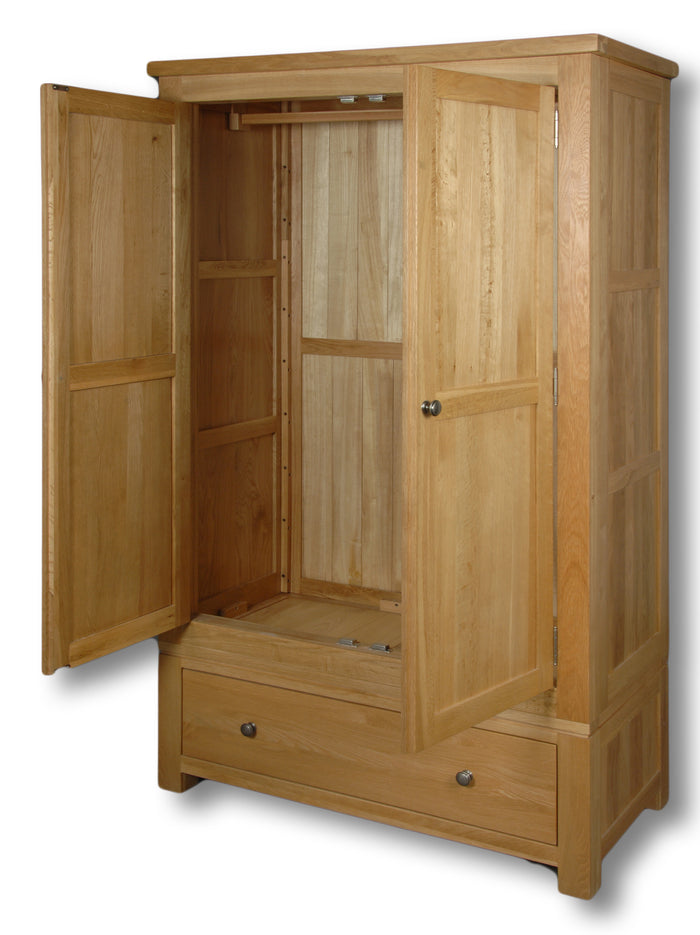 Manhattan Oak 2 Door 1 Drawer Double Wardrobe