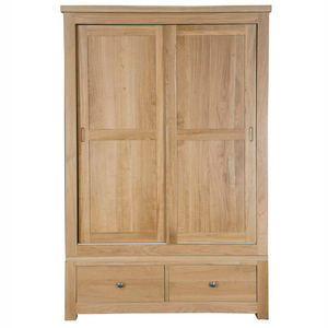 Woodstock Oak Double Wardrobe with Sliding Doors