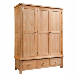 Bicester Oak Triple Wardrobe with 3 Drawers