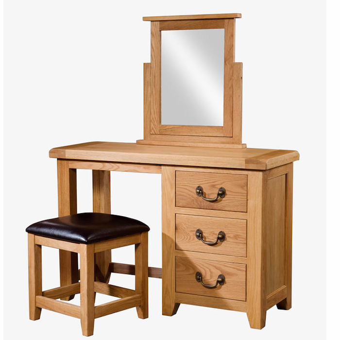 Somerset Oak Single Pedestal / Dressing Table