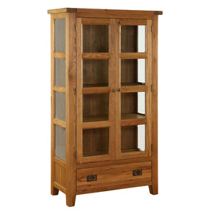 Vancouver Premium Oak Glazed Cupboard with Bevelled Glass