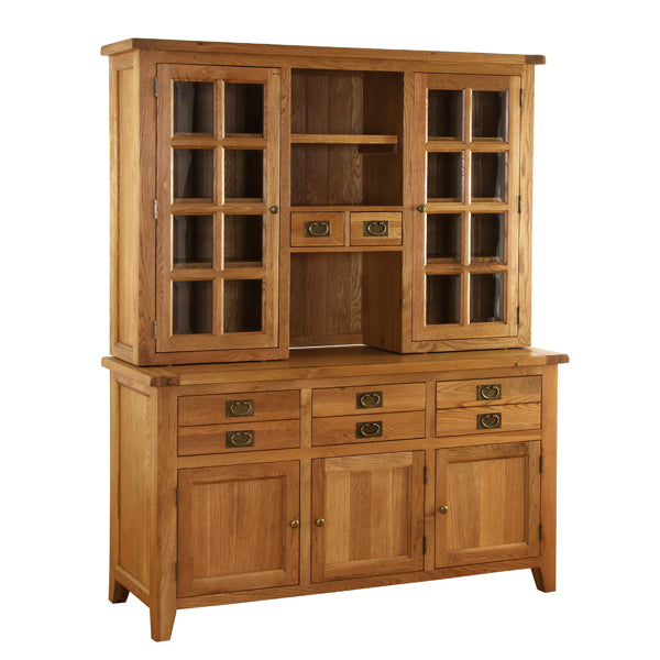 Vancouver Premium Oak Complete Dresser with Glazed Top