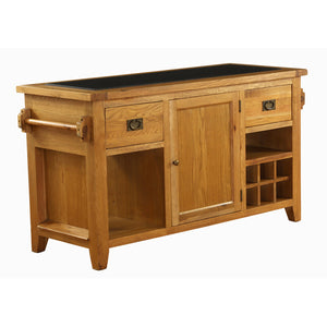 Vancouver Premium Oak Kitchen Island with Granite Top