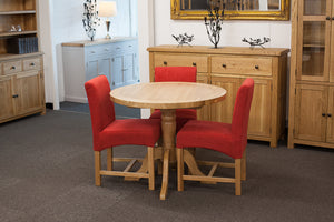 Manhattan Oak Round Dining Table & 3 Red Dining Chairs